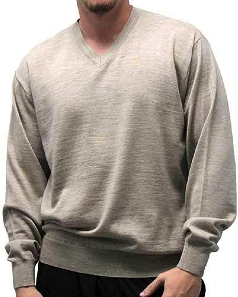 Italian Made Big and Tall Luxury Merino Wool Blended V-Neck Sweater to 6XT Made in Italy