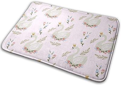 Pink Floral Swan Carpet Non-Slip Welcome Front Doormat Entryway Carpet Washable Outdoor Indoor Mat Room Rug 15.7 X 23.6 inch