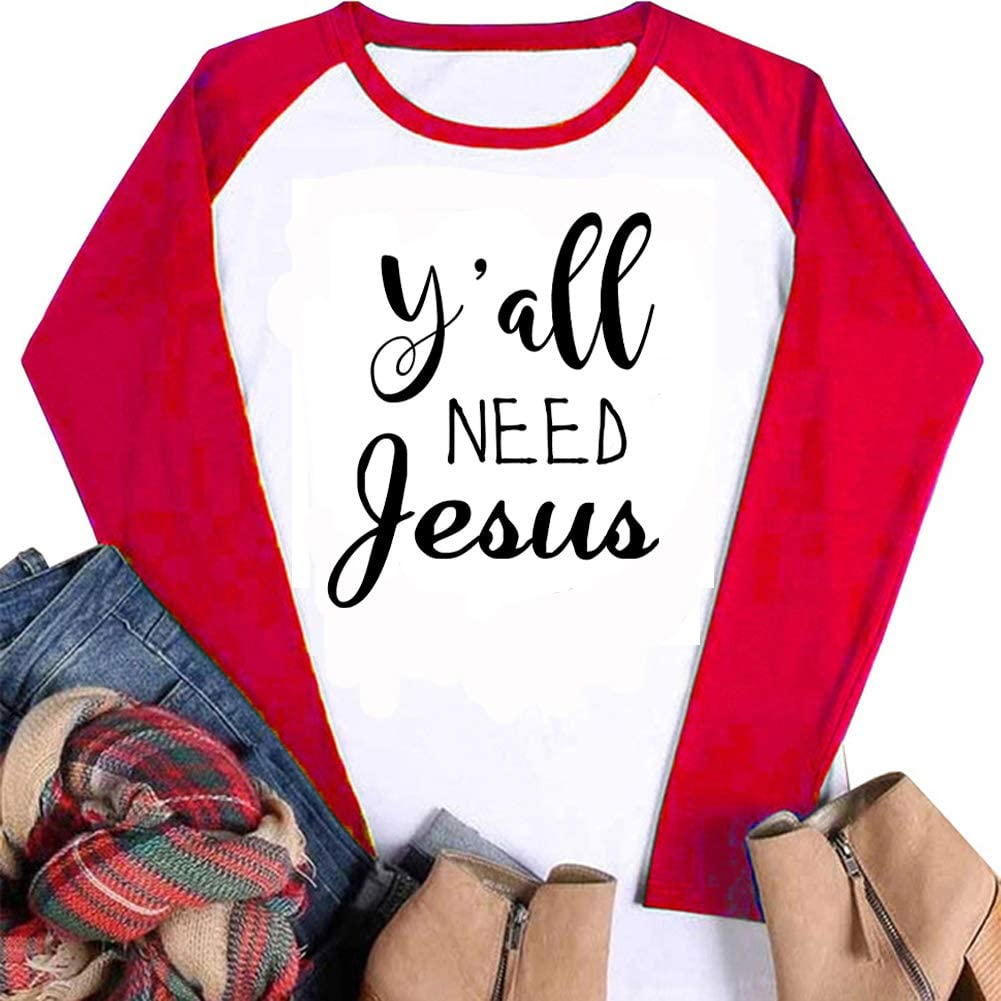 Tsun Women Y'all Need Jesus Letter Print Tops Bombing free shipping Neck Round Raglan Selling and selling