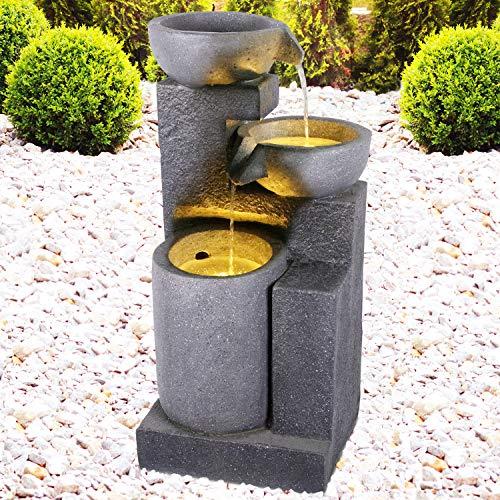 Gartenbrunnen Brunnen Zierbrunnen Zimmerbrunnen Springbrunnen Brunnen mit LED-Licht 230V Wasserfall Wasserspiel für Garten, Gartenteich, Terrasse, Balkon Sehr Dekorativ