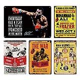 FKnbM Signe en métal Signe en étain Boxe Vintage Plaque en métal Pub rétro décoration Murale Sport Club Homme des cavernes Affiches en métal Peinture de Fer 20x30cm 5 pièces