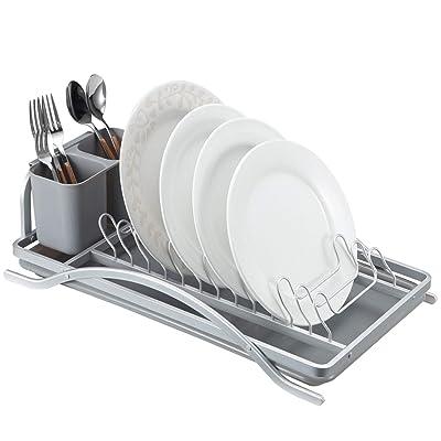 Dish Rack, Aluminum 1-Tier Dish Drying Plate Ra...