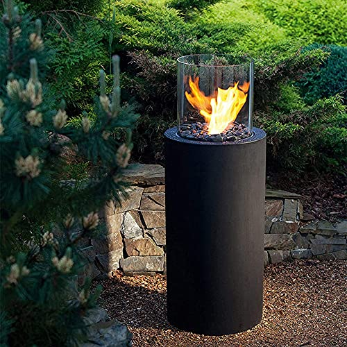 DJLOOKK Outdoor Fireplaces, Bio Ethanol Fire Place, Free Standing Ethanol Fireplace, Realistic Brightly Burning Flame, Patio Heater Firepit, for Gardens, Backyards, Bars, Restaurants, Offices