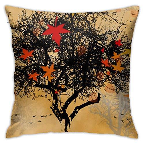 LUCKCHN Kissenbezug mit Herbstblatt-Motiv, Kissenbezug für Sofa, 45,7 x 45,7 cm, ohne Kisseneinsatz