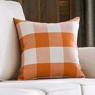 MIULEE Decorative Classic Retro Checkers Plaids Throw Pillow Covers Cotton Linen Soft Soild Pillow Case Orange Cushion Case for Sofa Bedroom Car 20 x 20 Inch 50 x 50 cm