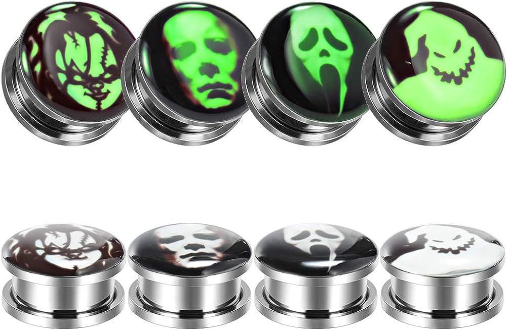 TBOSEN 8 Pcs Stainless Steel Fluoresscence Epoxy Screw Fit Ear Gauges Ear Plug Flesh Piercing Jewelry 2g - 1-3/16 inch