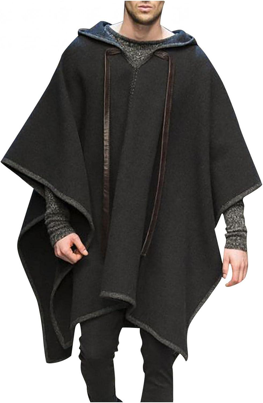 Burband Mens Hippie Hooded Drape Phocho Capes Lightweight Bat Sleeve Flowy Cloak Irregular Hem Pullover Hoodie Sweaters