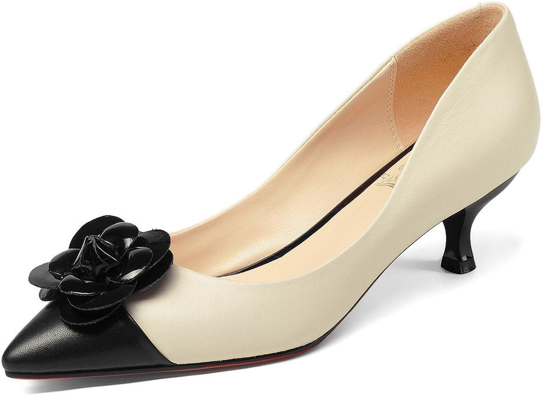 Nine Seven Genuine Leather Women's Pointed Toe Stiletto Heel Two Tone Handmade Flowers Cute Pump shoes