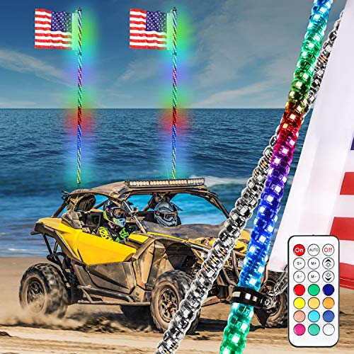 Niwaker 2Pcs 6ft LED Whip Lights with RF Remote Control 360° Spiral Lighted Whips RGB Dancing/Chasing Light Antenna LED Whips for ATV UTV Polaris Off Road Truck RZR 4X4 SXS