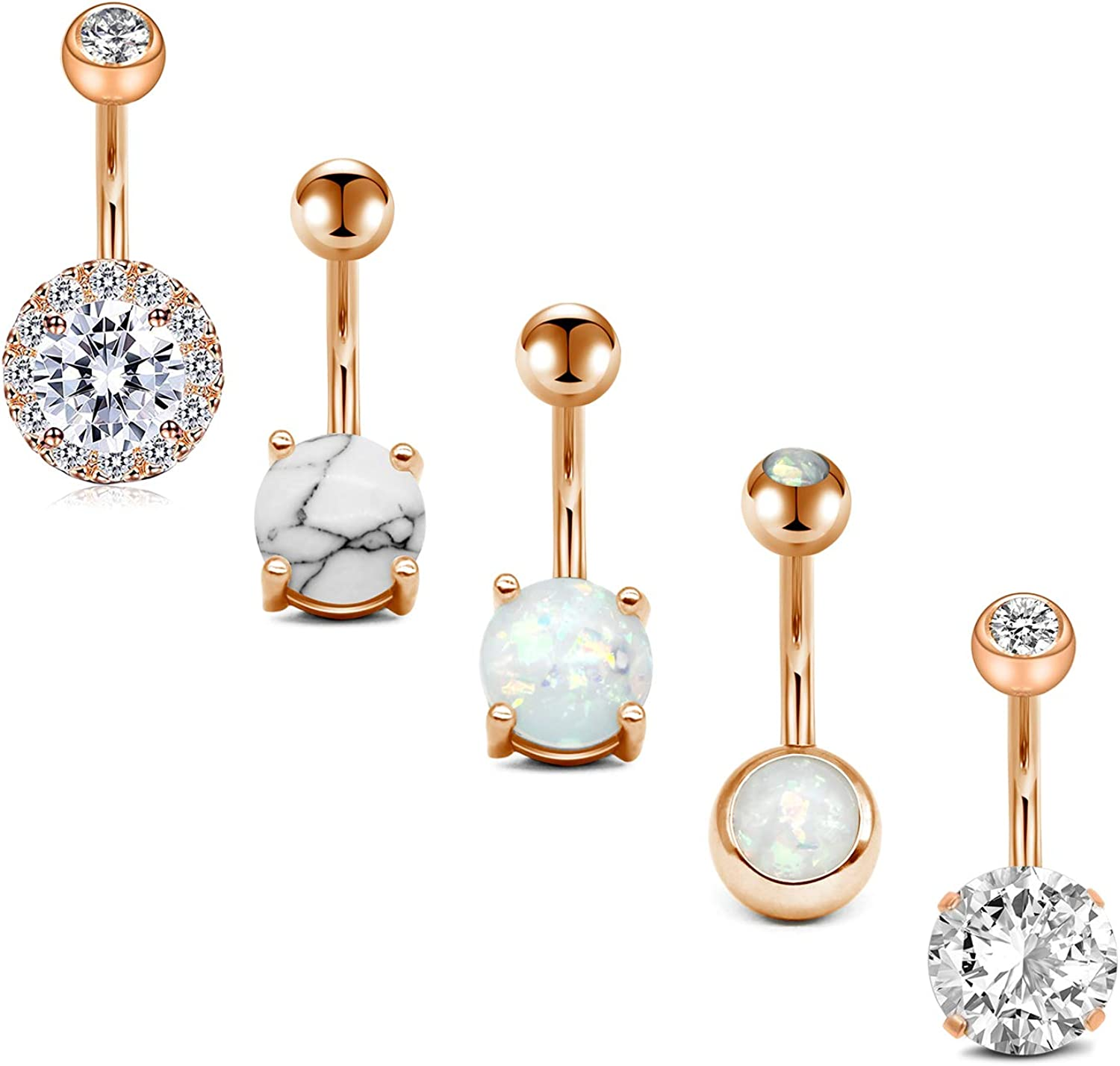 Briana Williams 14G Belly Button Rings Surgical Stainless Steel Belly Ring Navel Rings Piercing Heart CZ Opal Skull Hand Belly Button Piercing Jewelry for Women 10mm(3/8