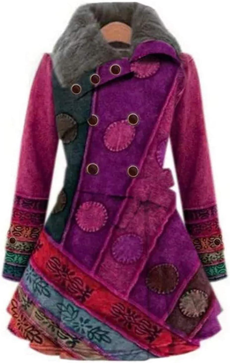 TopLAD Fashion Women Lapel Buttons Coats with Belt Winter Warm Lapel Gradient Printed Jackets Casual Buttons Cardigan Fleece Outwear Ladies Plus Size Coat