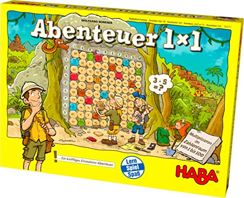 Haba 303717 - Abenteuer 1x1 | Rechen- und Lernspiel zum spielerischen Trainieren des Einmaleins |Multiplizieren im Zahlenraum 1-100 | Cleveres Spielprinzip mit Selbstkontrolle |Spiel ab 7 Jahren