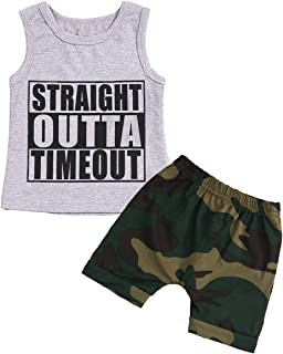 YOUNGER TREE Baby Boy Clothes Outfit Straight Outta Timeout Vest Camouflage Shorts Set Summer 2Pcs