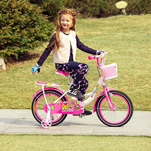 WXQ-XQ Children's Bicycles 4-7 Years Old Children's Bikes 16-inch Baby Girls Bicycles High-carbon Steel Baby Carriages, Pink/green/blueen Children's bicycle (Color : Pink) Outdoor sports Mountain Bike