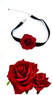 ClassicBeauty Elegant Bright Red Rose Velvet Hair Clip and Gothic Lolita Necklace - 2019 Women and Girls Hair Accessories