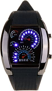 LED Racing Watch - TOOGOO(R)New Meter Dial Black Rubber Strap Blue Flash Dot Matrix LED Racing Watch