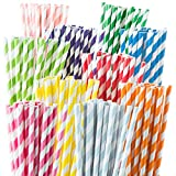 Weemium 200 Biodegradable Paper Straws - Durable & Eco-Friendly in 10 Color Stripes - Rainbow Drinking Straws & Party Decoration Supplies