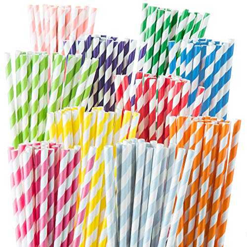 cheap Weemium 200 Biodegradable Paper Straw – Durable and Eco-friendly with 10 Color Strips – Rainbow…