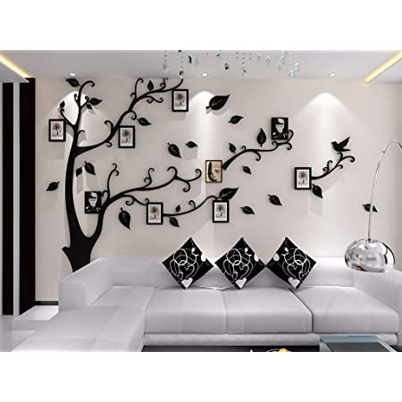 Amazon Com Kenmont Large Family Tree Wall Decals 3d Diy Photo Frame Wall Stickers Crystal Acrylic Mural For Living Room Sofa Tv Art Wall Background Black L Left Everything Else