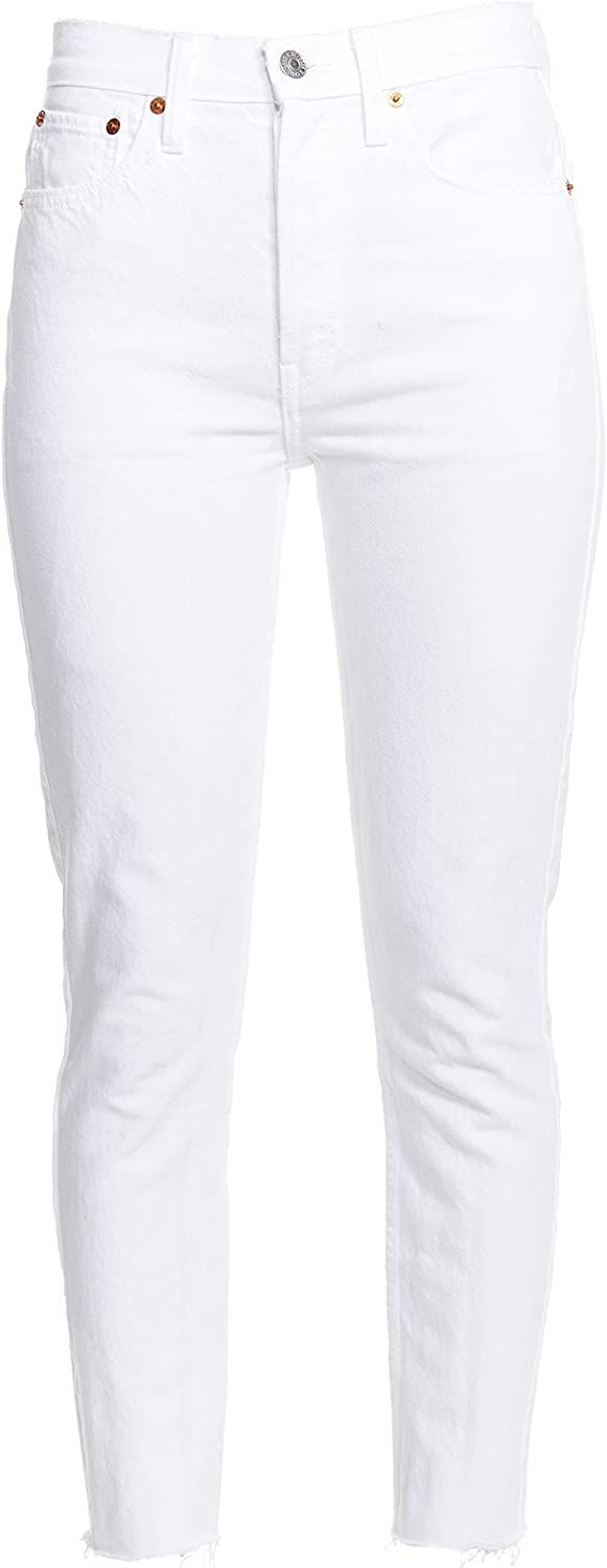 RE DONE Stretch High Rise Ankle Crop  White