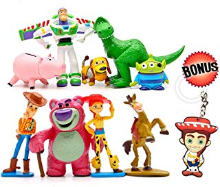 Toy Story Cake Toppers – Cartoon Action Figures – Pack of 9 Premium Toy Story Party Figurines – Birthday Party Supplies for Kids & Grownups + Jessie Keychain – Toy Story Party Favors