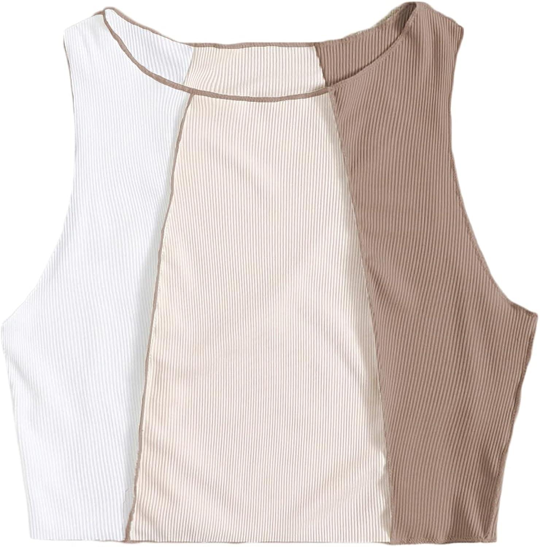 Verdusa Women's Stitch Trim Rib Knit Color Block Sleeveless Crop Tank Top