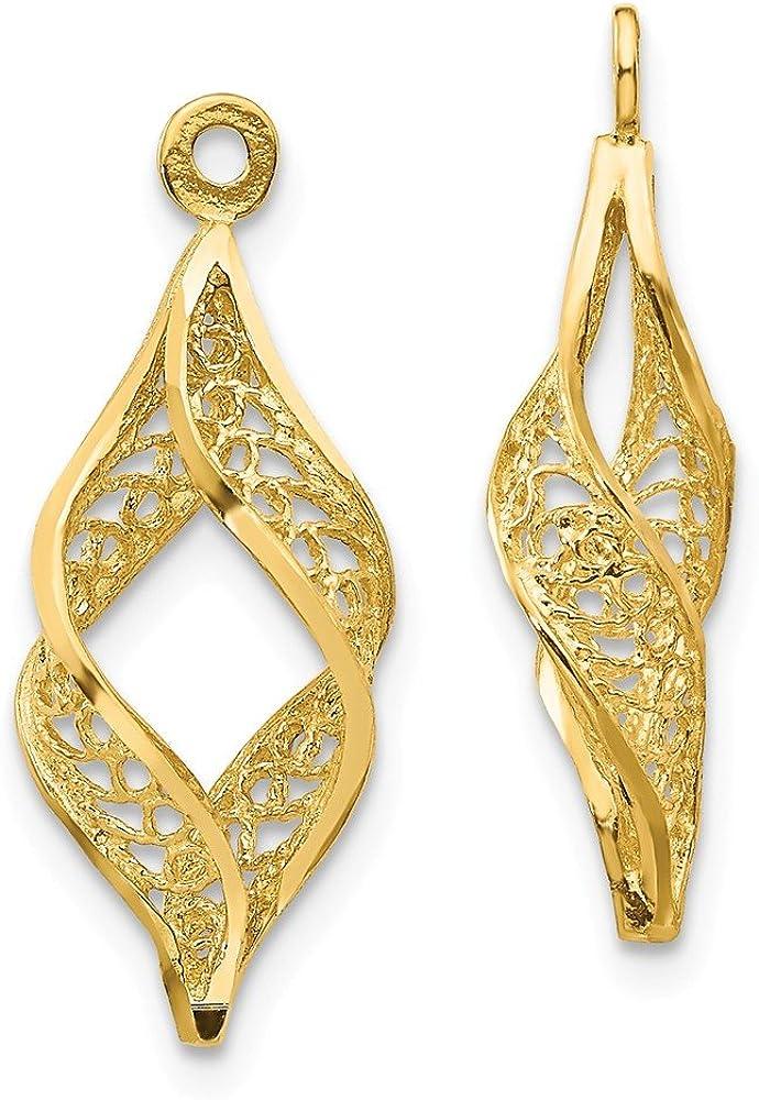 14K Yellow Gold Polished Filigree Swirl Earring Jackets