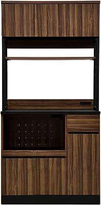 リーテンスタッド 食器棚 キッチン収納 幅90.3㎝ ハイタイプ コンセント付き 組立式 ヴィンテージ × ブラック Z3-vtbk