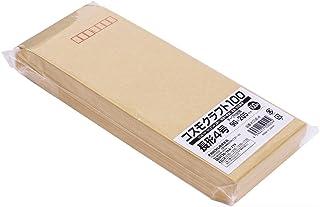 クラフト封筒 長形4号 B5ヨコ4つ折 テープ付 100枚 KCNE-4