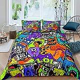 Hip Hop Decor Set di da letto Hippie Graffiti copripiumino Hip Hop Street Culture Comforter Cover Giovane Uomo Graffiti Copriletto con 1 federa 2 pezzi da letto Singola