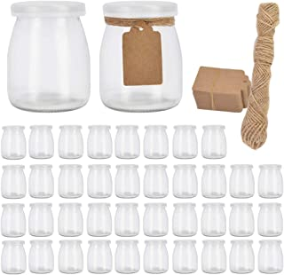 Betrome 7oz Glass Jars, 40 Pack 200ml Yogurt Jars with PE Lids, Clear Pudding Jars Glass Favor Jars Containers for Spice, ...