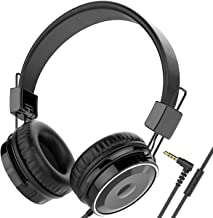 Baseman On Ear Wired Headphones with Mic, Lightweight and Folding Portable Headphone, Stereo and Heavy Bass Boosted Headphones with 1.5M Braided Cord for Cellphone Laptop Tablet Computer Mp4 Mp3 Black