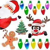 90shine Christmas Car Refrigerator Decorations Reflective Bulb Light Santa Reindeer Tree Gingerbread Magnet Accessories Set Xmas Holiday Cute Decor