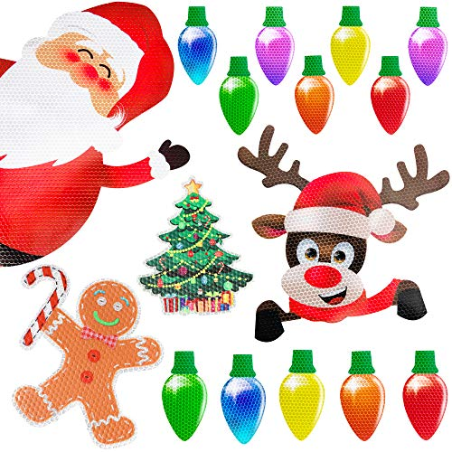 90shine Christmas Car Refrigerator Decorations Reflective Bulb Light Santa Reindeer Tree Gingerbread Magnet Accessories Set Xmas Holiday Cute Decor