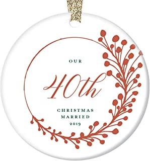 """40th Anniversary Christmas Ornament 2019 Forty 40 Years Married Gift Parents Grandparents Keepsake Tree Decoration Farmhouse Red Berry Wedding Memory Present Him Her Ceramic 3"""" Flat Circle Gold Ribbon"""