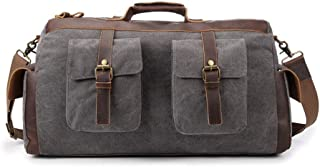 GLJJQMY Canvas Bag Retro Crazy Horse Leather Big Bag Travel Bag Thick Wash Canvas, 55 X 21 X 29cm Travel Bag (Color : Gray)