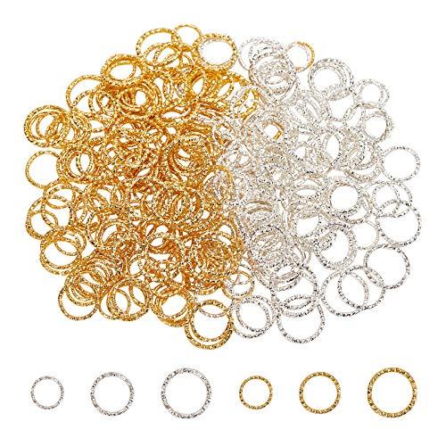 PandaHall 300 anillos de salto abiertos retorcidos de plata de oro Jumprings conectores O anillos conector de alambre para DIY cuelgan pendientes fabricación de joyas