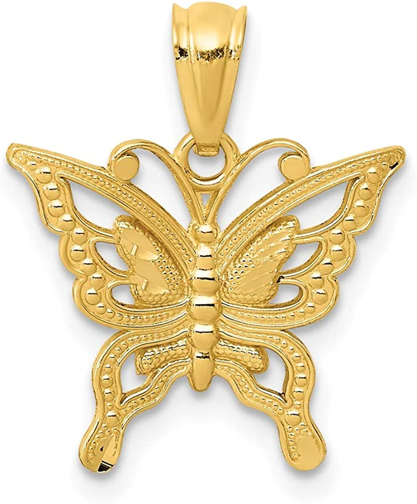 14k Yellow Gold Butterfly Pendant Charm Necklace Animal Insect Arachnid Fine Jewelry For Women Gifts For Her