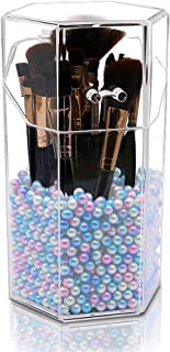 Beautypical Makeup Brush Holder with Free Pearls Dustproof Comestic Brushes Organizer Storage, Hexagon Shaped/Protect Brushes/Large Size