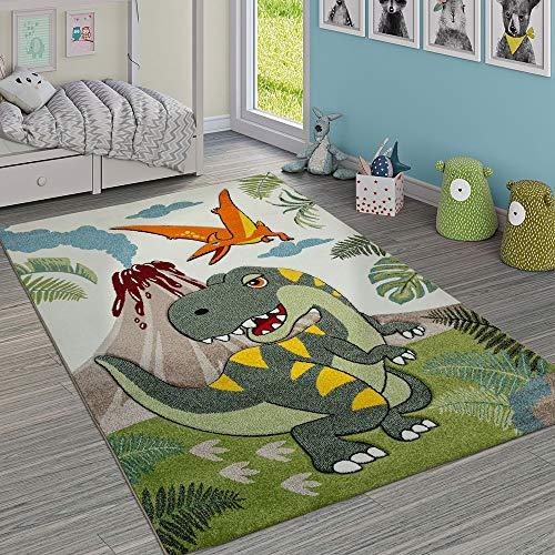 Paco Home Kinderzimmer Teppich Grün Dinosaurier Dschungel Vulkan 3-D Effekt Kurzflor, Grösse:140x200 cm