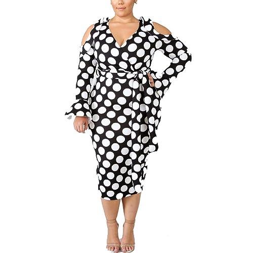 c45c61e16c0 Womens Cold Shoulder Long Sleeve Plus Size Bodycon Pencil Party Midi Dress