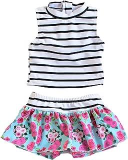 Toddler Girl Sleeveless UPF 50+ Two Piece Rash Guard Bikini Swimsuit Set
