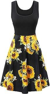 GOWOM Womens Sleeveless Neck Patchwork Dresses Vintage Elegant Sunflower A-Line Dress Black,Medium