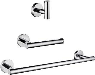 gotonovo Bathroom Hardware Set 3 Piece Wall Mount Stainless Steel Silver Chrome Polish Bath Accessories Kit Including 14 I...
