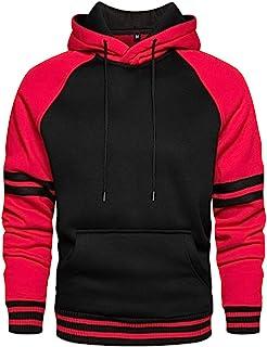 LBL - Sudadera para hombre con capucha de colores vivos, manga larga, bolsillo canguro para invierno y otoño