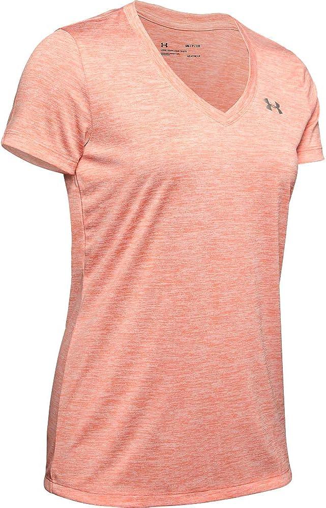 Twist kurz/ärmliges /& atmungsaktives Laufshirt f/ür Frauen Under Armour Damen Tech Short Sleeve V ultraleichtes T-Shirt mit Loser Passform