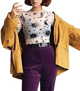 Women's Long Sleeve Slim Fit See Through Sheer Mesh Top,Sun Moon Stars Print Round Scoop Sexy Shirt