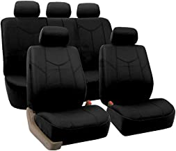 FH Group PU009115 Rome PU Leather Full Set Car Seat Covers, Airbag Compatible and Split Bench, Solid Black - Universal Car, Truck, SUV, or Van