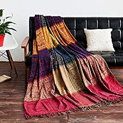 Made of chenille fabric, soft, woven and lightweight material can keep you stay in comfy temperatures all the time. Machine wash in cold water separately, gentle cycle, tumble dry low, low iron if needed. Multifunctional: can be used as a bed, chair,...