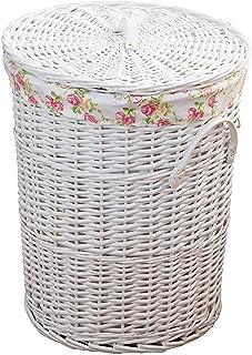 Panier à blanchisserie tissé à la main naturelle de saule avec couvercle, seau à jouets de ménage Buanderie Hampe pour jou...